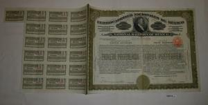 4 Aktien à 200 Peso Ferrocarriles Nacionales de México New York 1909 (126712)
