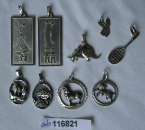 9 x hübsche kleine Kettenanhänger alle aus Silber (116821)