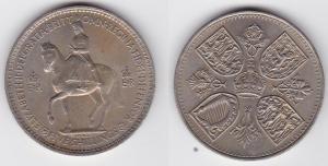 5 Schilling Crown Nickel Münze Großbritannien 1953 mit 4 Wappen (125175)