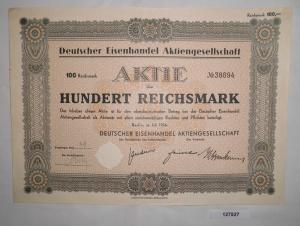 100 Mark Aktie Deutscher Eisenhandel AG Berlin Juli 1936 (127527)