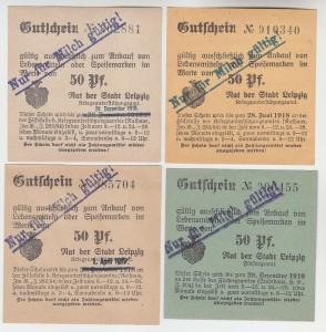 4 verschiedene 50 Pfennig Milch Gutscheine Stadt Leipzig (120514)