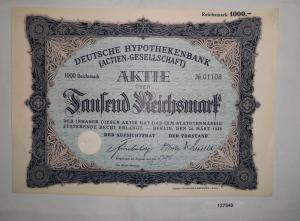 1000 Mark Aktie Deutsche Hypothekenbank Berlin 24.März 1928 (127549)