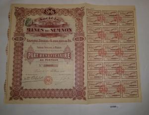 100 Francs Vorzug Aktie Société des Mines du Semnon Paris 1. Mai 1910 (127968)