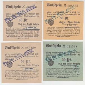 4 verschiedene 50 Pfennig Milch Gutscheine Stadt Leipzig (120522)