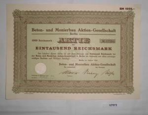1000 Mark Aktie Beton- und Monierbau AG Berlin August 1941 (127572)