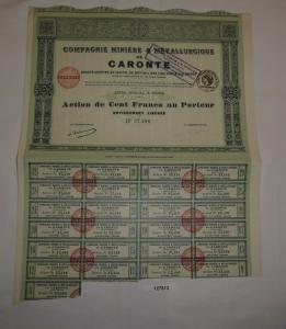 100 Francs Aktie Compagnie Minière & Métallurgique de Caronte Paris 1921 /127513