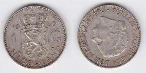 1 Gulden Silber Münze Niederlande 1955 (123424)