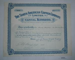 200 Aktien à 2 Shillings The South American Copper Company 29.Juni 1928 (127516)