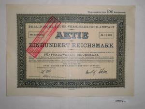 100 Mark Aktie Berlinische Feuer-Versicherungs-Anstalt 14.08.1924 (127571)