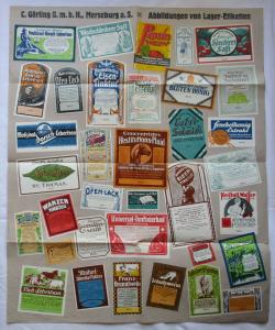 Faltplakat Abbildungen von Lager-Etiketten C.Görling GmbH Merseburg (111838)