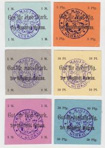 6 x Banknoten Notgeld Stadt Guhrau in Schlesien ohne Datum (132941)