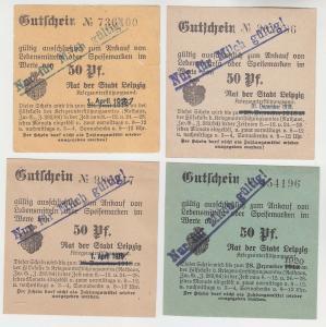 4 verschiedene 50 Pfennig Milch Gutscheine Stadt Leipzig (120555)