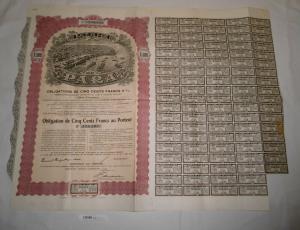 500 Franc Aktie Port of Para Brasilien New York 1909 (126873)