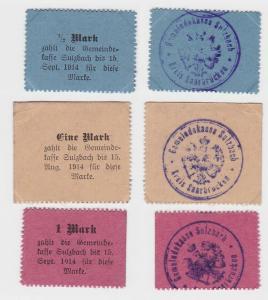 3 x Banknoten Notgeld Gemeindekasse Sulzbach 1914 (132940)