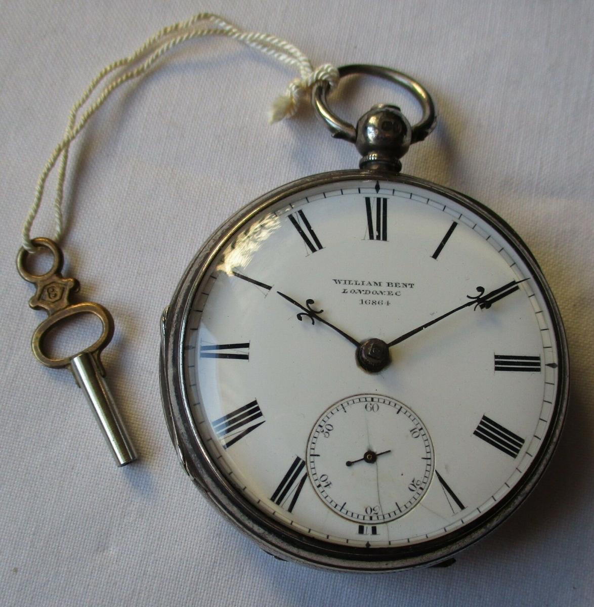 Hochwertige Taschenuhr 925er Silber William Bent London EC vor 1900 (124221) 0