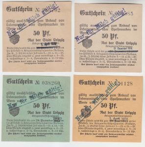 4 verschiedene 50 Pfennig Milch Gutscheine Stadt Leipzig (120562)