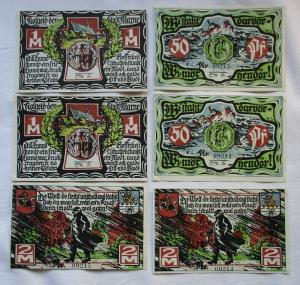 6 Banknoten Notgeld der Stadt Marne 1922 (131932)
