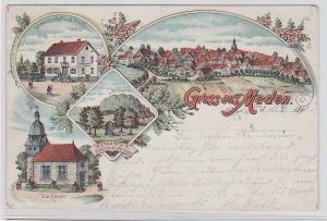 91901 Ak Lithographie Gruß aus Maden Gastwirtschaft, Kirche usw. 1898