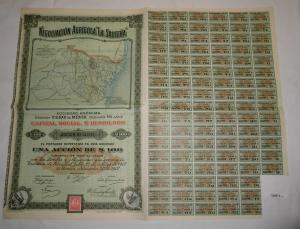 100 Pesos Aktie Negociacion Agricola la Sautena Mexiko 1907 (126873)