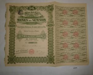 100 Francs Aktie Société des Mines du Semnon Paris 1. Mai 1910 (127510)
