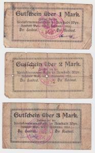 3 Banknoten Neustadt in Westpreußen Wejherowo 1.9.1914 (133129)