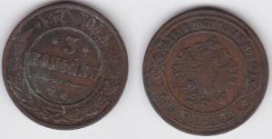 3 Kopeken Kupfer Münze Russland 1874 E.M. (125177)