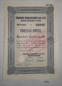 100 Mark Aktie Aktiengesellschaft für Baugesellschaft Lenz Berlin 1935 (127592)