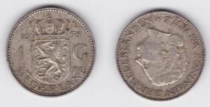 1 Gulden Silber Münze Niederlande 1958 (123892)