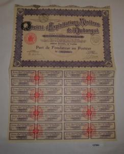 100 Francs Aktie Société d'Exploitations Minières de l'Oubangui Paris (127991)