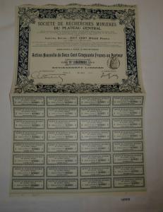 250 Francs Aktie Société de Recherches Minières du Plateau Central 1911 (127810)