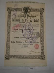 500 Franc Aktie Compagnie Auxiliaire Chemins de Ferr au Bresil 1937 (128206)