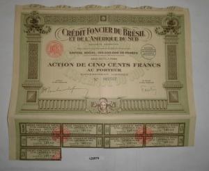 500 Franc Aktien Credit Foncier du Bresil et de L`Amerique du Sud 1925 (126970)