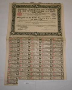 55 Franc Aktien Credit Foncier du Bresil et de L`Amerique du Sud 1930 (128110)