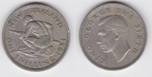 1 Schilling Kupfer Nickel Münze Neuseeland Maorikrieger 1951 (119502)