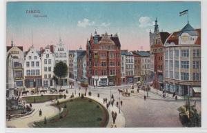 92415 Feldpost AK Danzig - Holzmarkt mit Geschäften und Kutsche 1917
