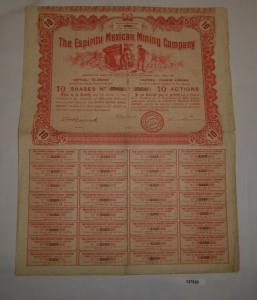 10 Aktien à 5 Francs The Espirity Mexican Mining Company April 1910 (127520)