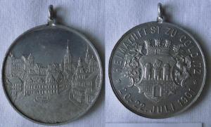 Seltene Aluminium Medaille Heimatfest zu Colditz 20.-22.Juli 1901 (101503)