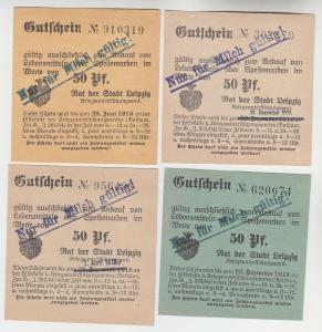 4 verschiedene 50 Pfennig Milch Gutscheine Stadt Leipzig (120520)