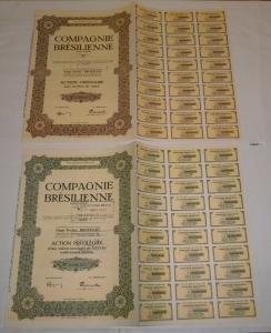 2 Aktien Compagnie Bresilienne Societe Anonyme Bruxelles 6.10.1944 (128047)