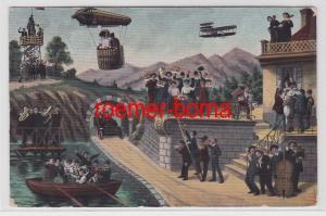 74553 Humor Ak Zukunftsbild mit Zeppelin, Doppeldecker und Auto um 1910