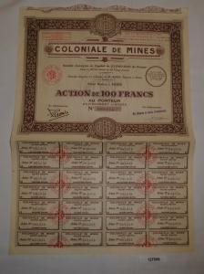 100 Francs Aktie Coloniale de Mines Paris 5. April 1929 (127506)