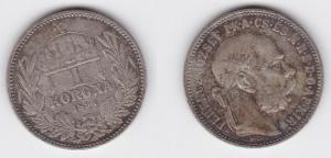1 Krone Silber Münze Ungarn 1894 (124502)