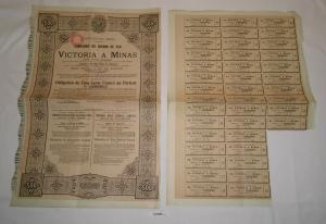 500 Francs Aktie Compagnie du chemin de fer de Victoria A Minas 1906 (127980)
