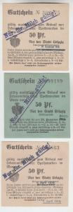 3 verschiedene 50 Pfennig Milch Gutscheine Stadt Leipzig (120619)