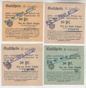 4 verschiedene 50 Pfennig Milch Gutscheine Stadt Leipzig (120698)