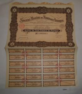 100 Francs Aktie Société Minière du Nord de l'Afrique Paris 16.Juni 1927 /127811