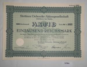 1000 RM Aktie Stettiner Oelwerke AG Züllchow bei Stettin Mai 1942 (127802)