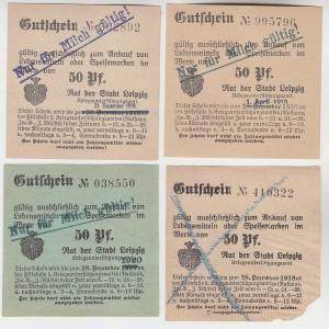 4 verschiedene 50 Pfennig Milch Gutscheine Stadt Leipzig (120627)