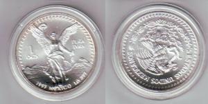 1 ONZA PLATA PURA Münze Mexiko 1 Unze 999 Silber TOP 1993 (111092)