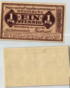 1 Pfennig Banknote Mannschaftsgefangenlager Merseburg 1.1.1916 (124011)